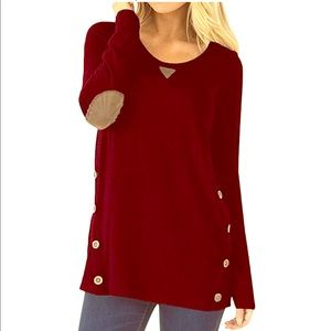NWT Dearcase elbow patch button tunic burgundy L